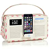 VQ Retro Mk II DAB/DAB+ Digital- und FM-Radio mit Bluetooth, Apple Lightning Dock und Weckfunktion - Emma Bridgewater Rose & Biene