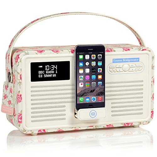 VQ Retro Mk II DAB/DAB+ Digital- und FM-Radio mit Bluetooth, Lightning Dock und Weckfunktion - Emma Bridgewater Rose and Bee Fm-transmitter Charge Dock
