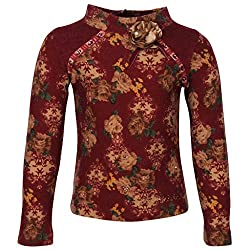 Cutecumber Girls Woolen Floral Printed Maroon Full Sleeves Sweater