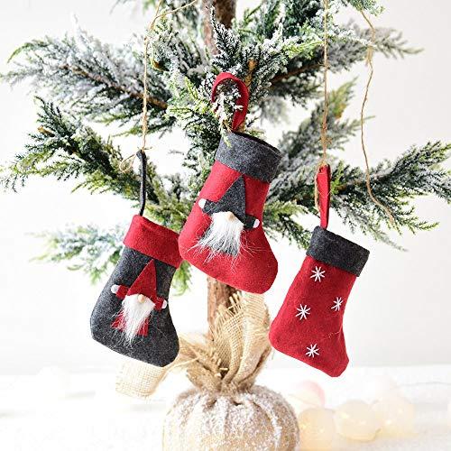 Longra decorazioni in feltro di natale calza di natale ornamenti per alberi di natale tavola a forma di calze rosse di babbo natale porta posate o sacchetto porta caramelle,7 modelli