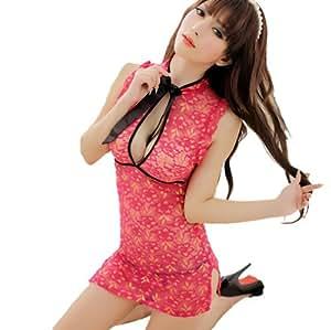 Femmes Sexy Lingerie de nuit transparente chinois Cheongsam floral Robe profonde V + G-string Set # 1038