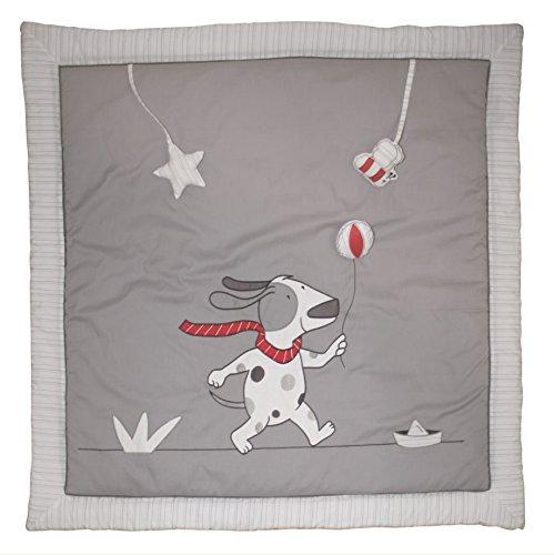 roba Spiel- & Krabbeldecke, Baby's gepolsterte Spielunterlage / Laufgittereinlage 100x100cm, 100% Baumwolle, inkl Spielzeug