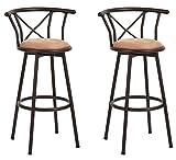 LeMonde Lot de 2 tabourets de Bar industriels de Style Chaise Vintage avec Repose-Pieds Design en Mousse rembourrée de 29 Pouces