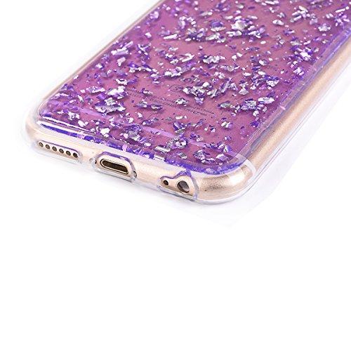 iPhone 6sPlus Custodia Sveglio, Soft TPU Gel Cover per iPhone 6Plus, MAOOY Shell Placcatura Edge in Lucido di Cristallo di Scintillio Strass Shock Absorption Protettiva Trasparente Ultra Sottile Chic  Viola