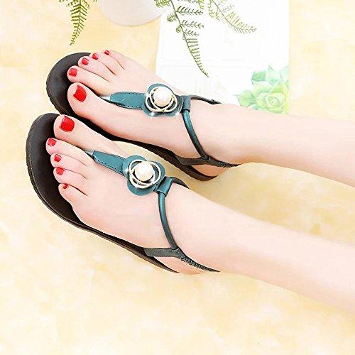 Bescita Neu Flache Freizeit Lady Peep-Toe Sandalen Outdoor Damen Schuhe Grün