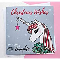 Daughter Christmas Card Hand Drawn | Glitter Unicorn Christmas Card | Daughter Cards | Christmas Gift