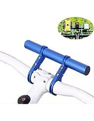 Bicicleta Manillar Soporte, Homeet Bici Expansor Manillar Barra 20CM Sostenedor Rigido del 2 Montaje Soportes para Luz Focos GPS Velocímetro Cámara y Smartphone del Moto Bicicleta 【AZUL Aleación de Aluminio】