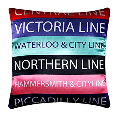 """London Underground Digital Print Colourful Contemporary Design Silk Satin 16"""" X 16"""" Cushion Cover Pillow For Sofa Bed"""
