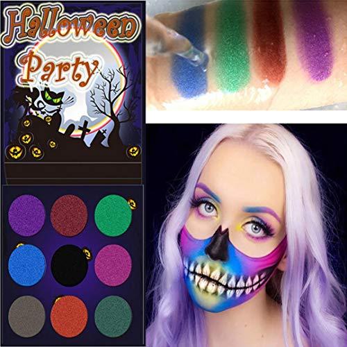 Big-Mountain Halloween | Augenschminke Lidschatten Palette | Kopf Lidschatten Kürbis Körper bemalte Platte Vogelscheuche Geister Party | 2 Sätze (Mehrfarbig)