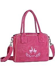 Handtasche aus Echtleder, 23cm, pink