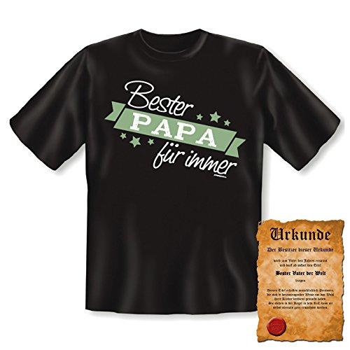 orginelles und witziges T-shirt mit Urkunde/ Vatertag Farbe: schwarz + Bester PAPA für immer + Schwarz