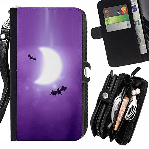 Graphic4You Dark Night Bat Design Zipper Brieftasche mit Strap Hülle Tasche Schale Schutzhülle für HTC One (M9) (M9 Bat)