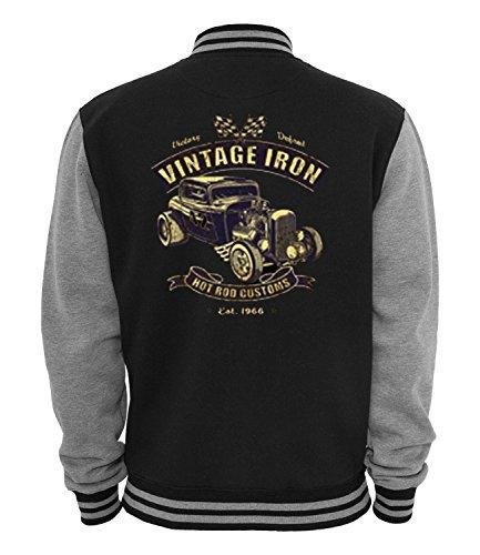 Ethno Designs Hot Rod - Oldschool - Vintage Rockabilly Retro Style College Jacke für Damen & Herren - Vintage Iron, navy/sportsgrey, Größe L