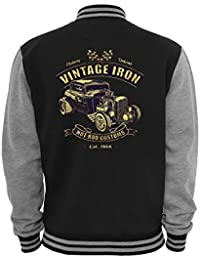Ethno Designs - Vintage Iron - Hot Rod Veste College Old School Rockabilly Retro Style pour Femmes et Hommes