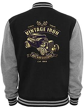 Ethno Designs - Vintage Iron - Giacca da College per Donne e Uomini - Vecchia Scuola Rockabilly Vintage Stile...