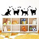 Wandtattoo-Loft Vier Katzen mit Schmetterlingen- Wandtattoo / 49 Farben / 3 Größen/schwarz / 35 x 126 cm