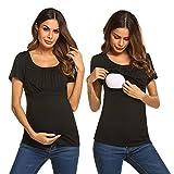 UNibelle Stillen T-Shirt Umstandstop aus Baumwolle Basic T-Shirt für Schwangere