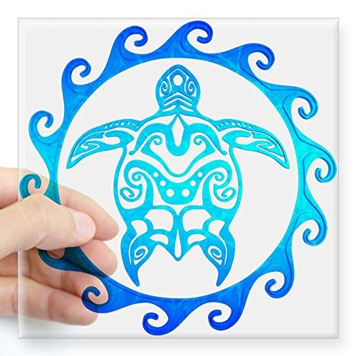 CafePress blau Tribal Schildkröte Sun Aufkleber quadratisch Aufkleber 3x 3, farblos, 5x5