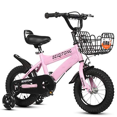 """YUMEIGE Kinderfahrräder 12\""""14\"""" 16\""""18\"""" Kinderfahrrad Speichenrad Fahrrad geeignet für 2-9 Jahre Kind 33-59 Zoll groß Kinder Radfahren mit Stützrädern und Korb (Color : Pink, Size : 14in)"""