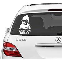 Adesivo per auto 15cm x 11cm Baby on Board, bambino con occhiali da sole stile film Hangover, rimovibile - Campione Cina
