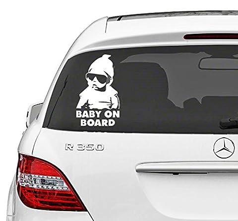 Autocollant décalcomanie pour vitre de voiture motif Baby on Board avec un bébé avec des lunettes de soleil tiré du film Hangover amovible repositionnable en vinyle 15 x 11 cm - Campione Cina