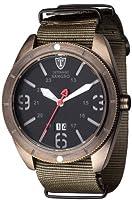 DETOMASO Sangro Men's Quartz Watch with Black Dial Analogue Display and Green Nylon Bracelet Dt1062-B