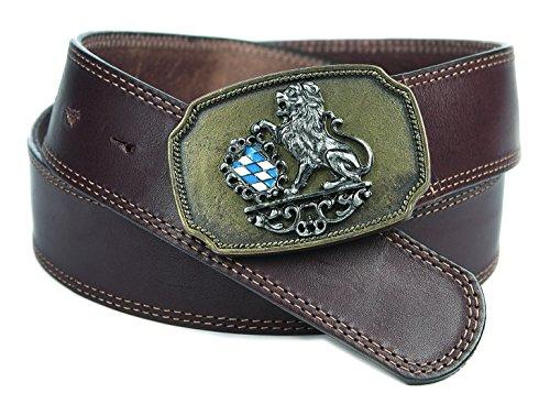 Bayern-Trachtengürtel Vollrindleder genarbt mit Löwe und Raute blau/weiß Ledergürtel Farbe braun