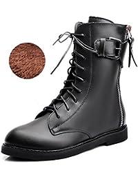 &ZHOU Botas otoño y del invierno botas cortas mujeres adultas 'Martin botas botas Knight a6-6 , black cotton , 35