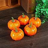 Halloween Kürbisse Deko, 16 Stücke Orange Künstliche Zierkürbisse Herbst Tischdeko für Halloween Haus Dekor - 6