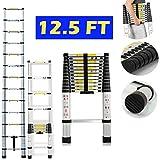 3,8m/12.5ft escalera extensible y plegable de aluminio 150kg capacidad de carga para Multi uso de bricolaje constructores casa Loft, ático, oficina