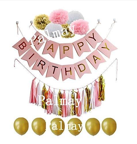 ion Paket mit Papier Blumen Ball, Papier Quaste, Ballon, Brief ziehen Flagge Banner (pink) Dekorativer Ballon für Hochzeitsfest-Dekorationen/Jahrestag/Party/Party ()