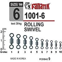 100 x Rolling Wirbel f/ür Karpfen Meer Hecht Angeln 8 Schleife Form 64LB