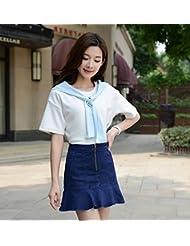 Verano una falda de cola de pescado rizada del paquete Coreano alta busto cintura adelgazar cadera denim falda pantalones faldas,XL,Azul