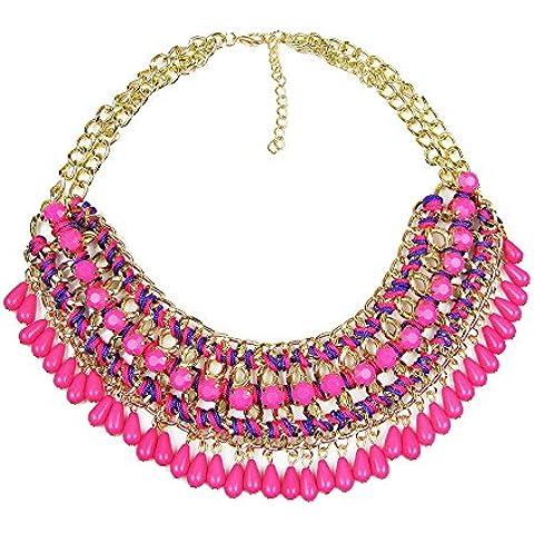 Contever® Elegante di Modo Pendenti monili Bib Chunky Chain Collier Collana Girocollo Donne Lady - Viola Rosa