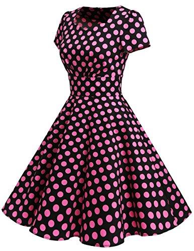 Dresstells Damen Vintage 50er Rockabilly kurzarm Swing Kleider Partykleid Black Purple Dot
