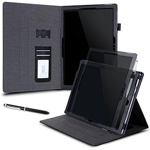 Surface Pro 4Funda, para Microsoft Surface Pro 3, rooCASE Dual View Funda de piel sintética Slim Fit Folio Cover (Horizontal y Vertical) Soporte para Tablet surface Pro 3/4[Auto Sleep/Wake Función] Negro
