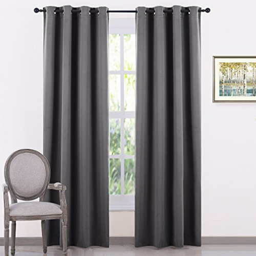 Eyelet Blackout Curtains Thermal Insulated - PONYDANCE Window Treatment Ring Top Blackout Curtains for Living Room / Energy Saving & Noise Reducing, 2 Pieces, 46