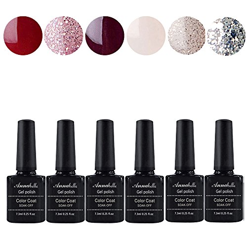 Allenbelle Smalto Semipermanente Nail Polish UV LED Gel Unghie (Kit di 6 pcs 7.3ML/pc) 002