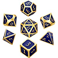 Hestya 7 Pieces Metal Dices Set DND Game Polyhedral Solid Metal D&D Dice Set with Storage Bag and Zinc Alloy with Enamel for Role Playing Game Dungeons and Dragons, Math Teaching (Blue)