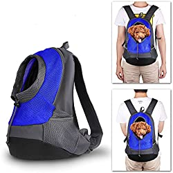 NHSUNRAY Pet Carrier mochila para pequeños perro gato Puppy(8lb Max) On-the-Go Travel Pet frente parte posterior bolsa transpirable suave malla Pup Pack 42 * 38 * 20 cm (Azul)