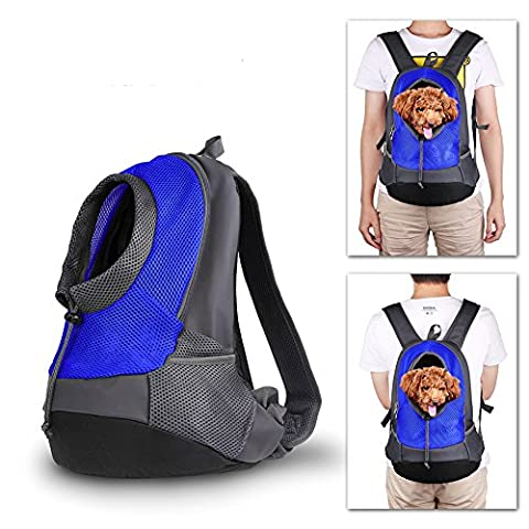 NHSUNRAY Pet porte-sac à dos pour petit chien chat Puppy(8lbs Max) On-the-Go Travel Pet avant arrière sac perméable à l'air Soft Mesh Pup Pack 42 * 38 * 20 cm Bleu