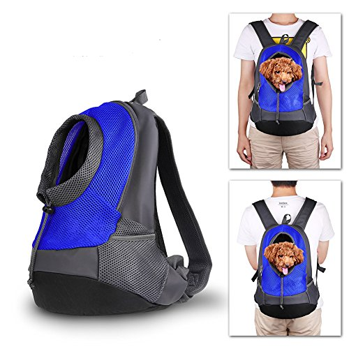 NHSUNRAY Pet Carrier mochila para pequeños perro gato Puppy(8lb Max) On the Go Travel Pet frente parte posterior bolsa transpirable suave malla Pup Pack 42 * 38 * 20 cm (Azul)