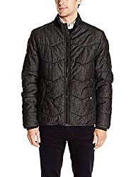 Calvin Klein Jeans Mens Quilted Full-Zip Stand-Collar Black (Small)