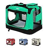 Leopet Faltbare Hundetransportbox (91,5/64,5/63,5 cm) in Farb-und Größenwahl für Hunde, Katzen und Kleintiere | Hundebox | Autobox | Transportbox | Kleintiertasche abwaschbar - Grün