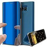 HMTECH Galaxy S6 Hülle Luxus Spiegel Mirror Makeup magnetisch PU Leder Schutzhülle Handytasche Shell Tasche mit Standfunktion Flip Hard Case Cover Hülle für S6,Blue Mirror PU