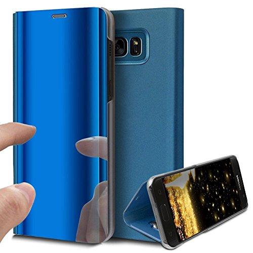 HMTECH Galaxy S6 Edge Hülle Luxus Spiegel Mirror Makeup magnetisch PU Leder Schutzhülle Handytasche Shell Tasche mit Standfunktion Flip Hard Case Hülle für S6 Edge,Blue Mirror PU