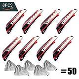 CCLIFE Set di Taglierini da 8 Pezzi con 50 Lame Spezzabili - Cutter Universali per Cartone Moquette e Bricolage