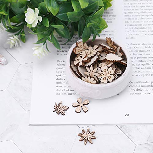 YiFeiCT 100pcs Laser Cut Wood Flowers and Leaves Embellishment Wooden Shape Craft Wedding Decor