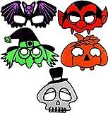Confezione da 5 Da Bambino Per Bambini Halloween Maschere Zucca Pipistrello Dracula Strega Scheletro
