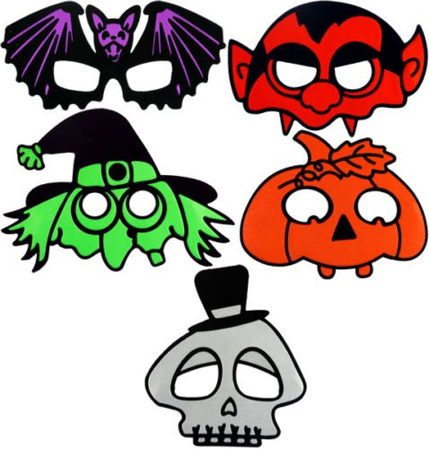 Packung mit 5 stück Kinder Halloween Masken Pumpkin Fledermaus Dracula Hexe Skelett
